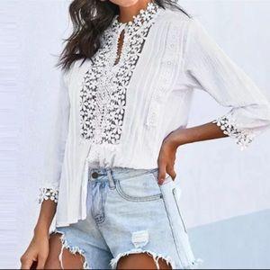 Cotton Crochet Lace Quarter Sleeve Shirt Blouse